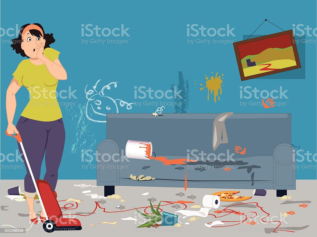Cleaning a messy room vector art illustration