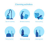 Vector set of illustrations for cleaning service and household activities.