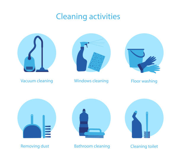 cleaning activities vector set - disinfectant stock illustrations