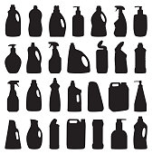 vector illustration, chemical detergent bottles black and white, cleanning