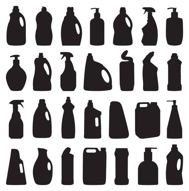 Reinigungsmittel Flaschen Silhouette – Vektorgrafik