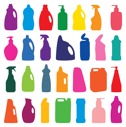 cleaning agent set silhouette