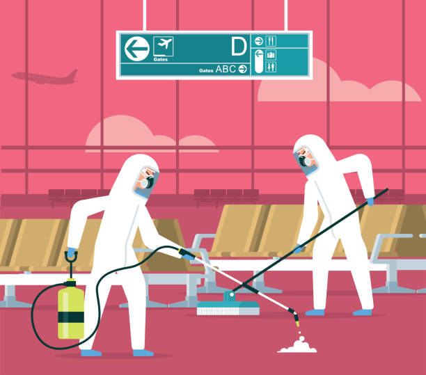 Cleaning - Airport vector art illustration
