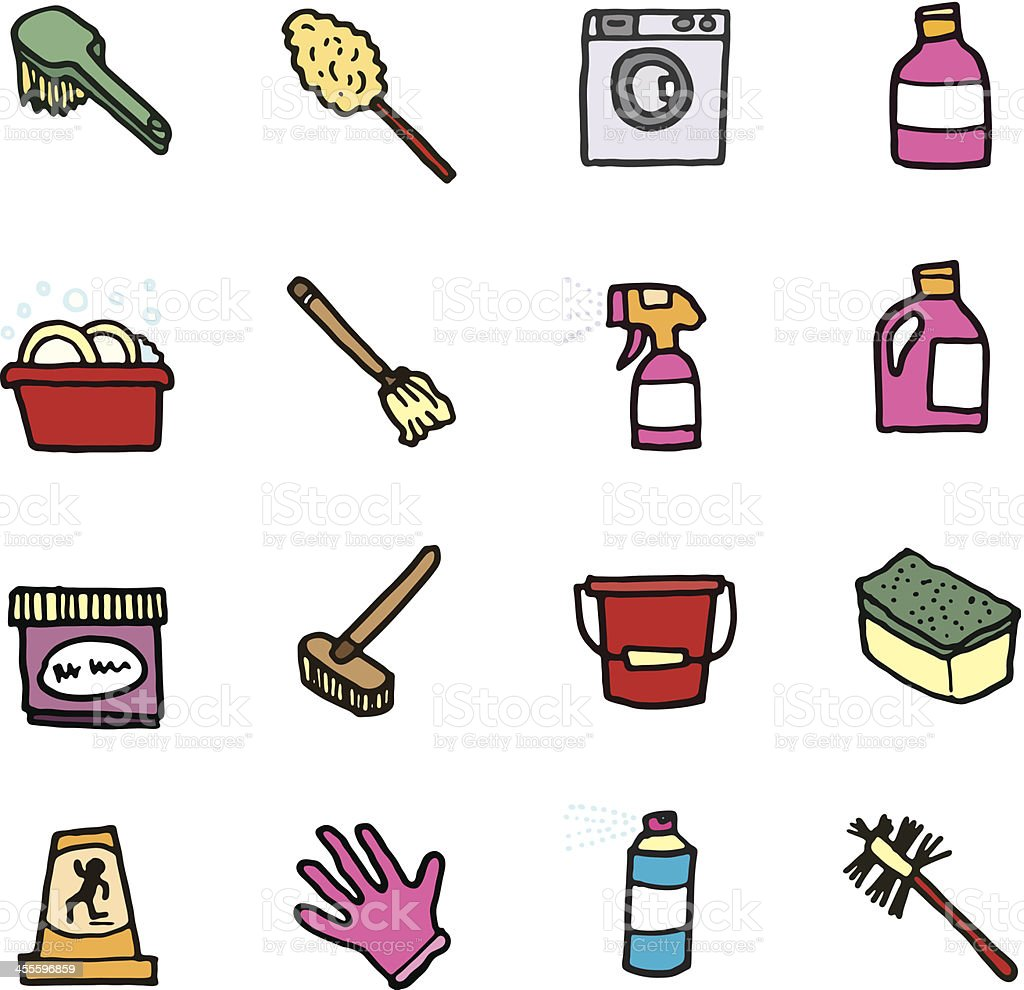 Cleaning and domestic doodle icons vector art illustration