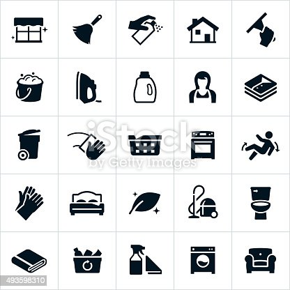 A vector set of icons depicting cleaning or housekeeping concepts. The icons include a feather duster, bucket of suds, iron, laundry, housekeeper, trash cat, laundry, stove, vacuum and other cleaning symbols and household appliances.