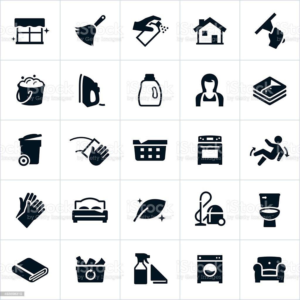 Reinigung und Reinigung Symbole – Vektorgrafik