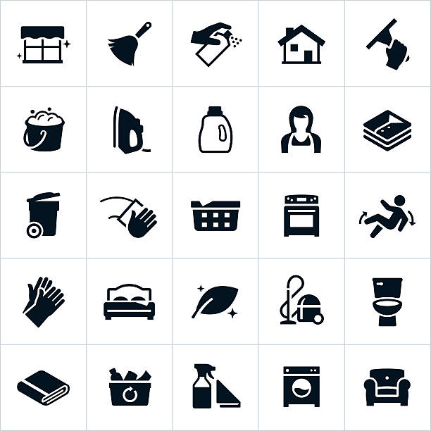 cleaning and housekeeping icons - disinfectant stock illustrations