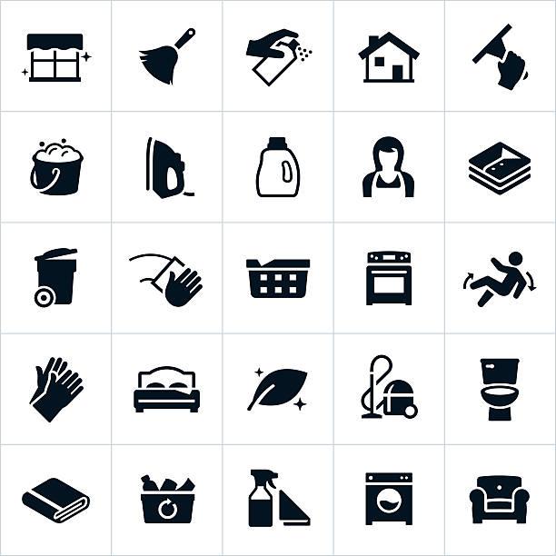 ilustraciones, imágenes clip art, dibujos animados e iconos de stock de iconos de limpieza y servicio de ama de llaves - tareas domésticas