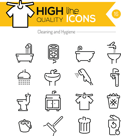 Cleaning and Hygiene line icons