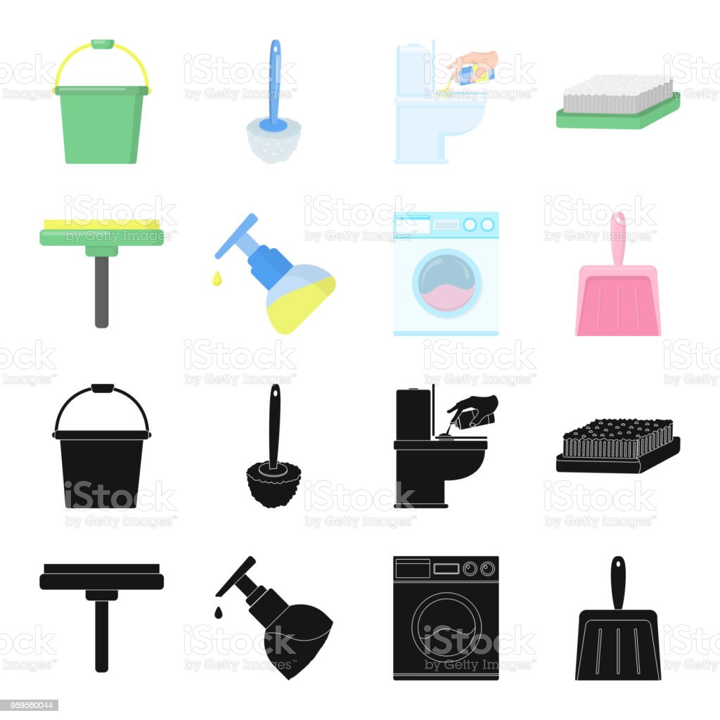 Cleaning and maid black,cartoon icons in set collection for design. Equipment for cleaning vector symbol stock web illustration. vector art illustration