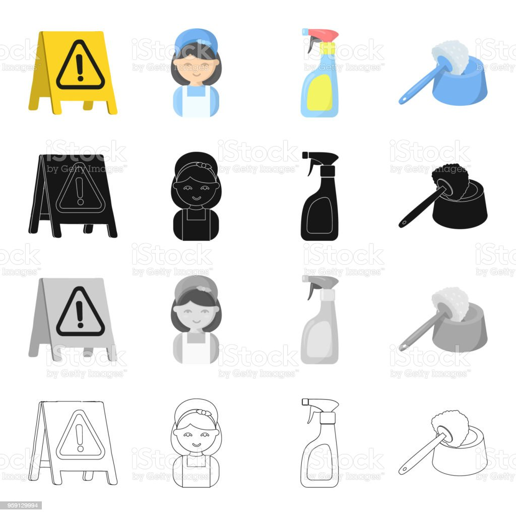 Cleaning and maid cartoon icons in set collection for design. Equipment for cleaning vector symbol stock web illustration. vector art illustration