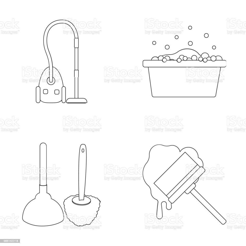 Icone di pulizia e contorno della cameriera nella collezione di set per il design. Attrezzatura per la pulizia di illustrazioni web stock di simboli vettoriali. - arte vettoriale royalty-free di Addetto alle pulizie