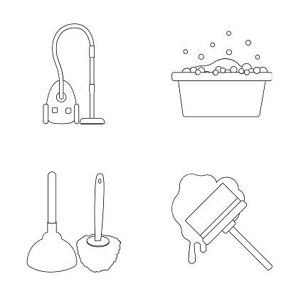 Reinigung Und Magd Umreißen Symbole Im Set Sammlung Für Design Anlagen Zur Reinigung Symbol Lager Web Vektorgrafik Stock Vektor Art und mehr Bilder von Ausrüstung und Geräte