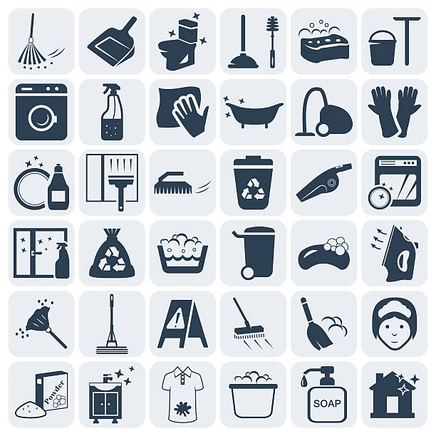 cleaning and washing vector icon set.vector symbols. vector illustration - household chores stock illustrations, clip art, cartoons, & icons