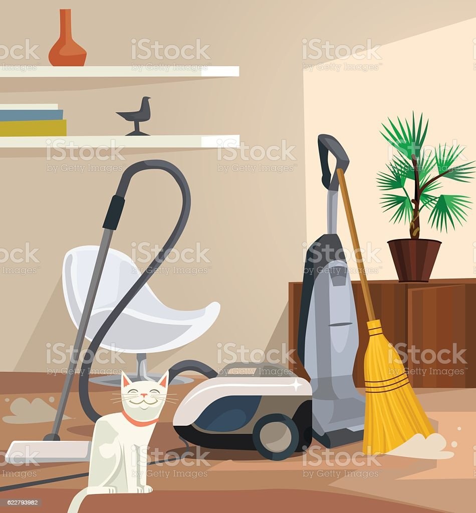 Cleaning Banner. Office Room. Vector Flat Cartoon Illustration Royalty Free  Cleaning Banner Office