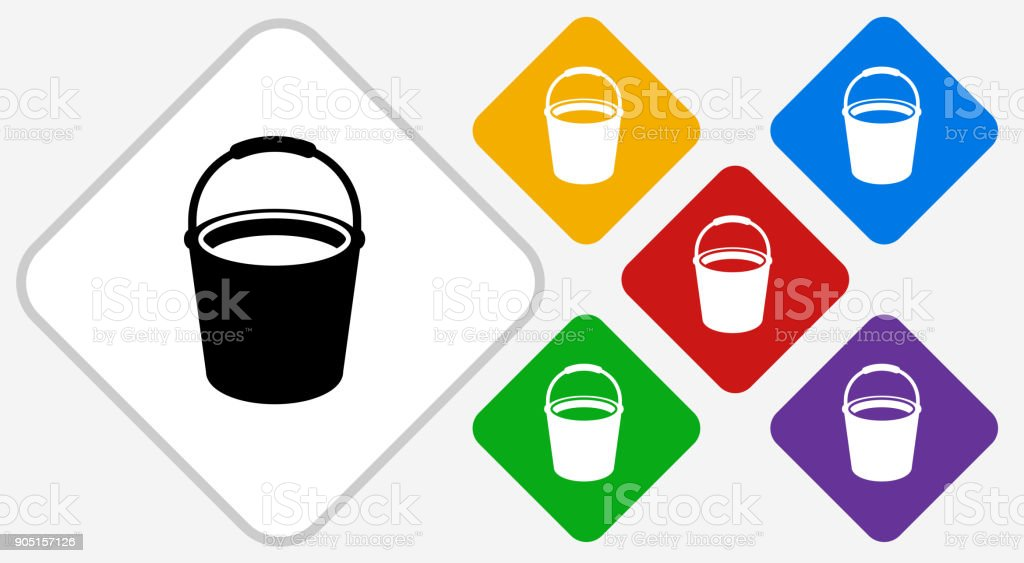 Cleaning Bucket Color Diamond Vector Icon vector art illustration