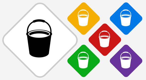Cleaning Bucket Color Diamond Vector Icon vector art illustration