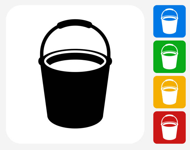 Cleaning Bucket Icon Flat Graphic Design vector art illustration