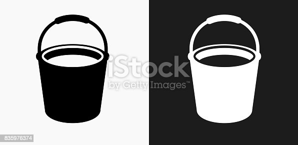 Cleaning Bucket Icon on Black and White Vector Backgrounds. This vector illustration includes two variations of the icon one in black on a light background on the left and another version in white on a dark background positioned on the right. The vector icon is simple yet elegant and can be used in a variety of ways including website or mobile application icon. This royalty free image is 100% vector based and all design elements can be scaled to any size.