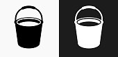 Cleaning Bucket Icon on Black and White Vector Backgrounds