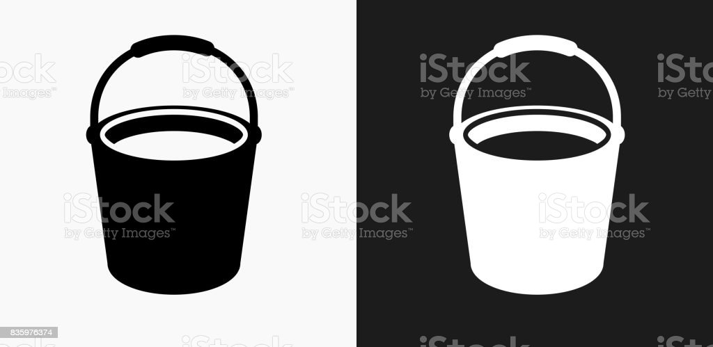 Cleaning Bucket Icon on Black and White Vector Backgrounds vector art illustration