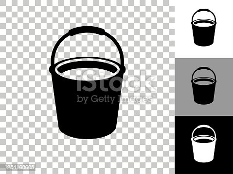 istock Cleaning Bucket Icon on Checkerboard Transparent Background 1254168605