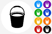 Cleaning Bucket Icon on Flat Color Circle Buttons