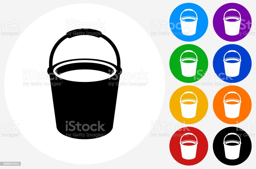 Cleaning Bucket Icon on Flat Color Circle Buttons vector art illustration