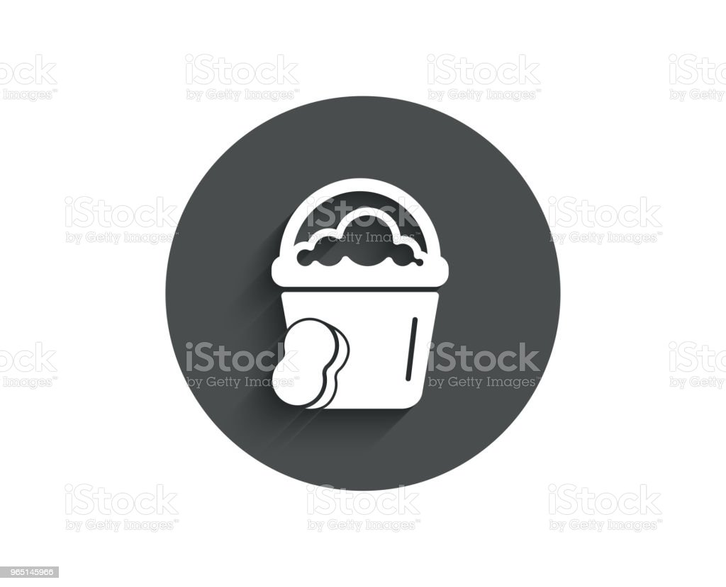 Cleaning bucket with sponge simple icon. royalty-free cleaning bucket with sponge simple icon stock vector art & more images of bathtub