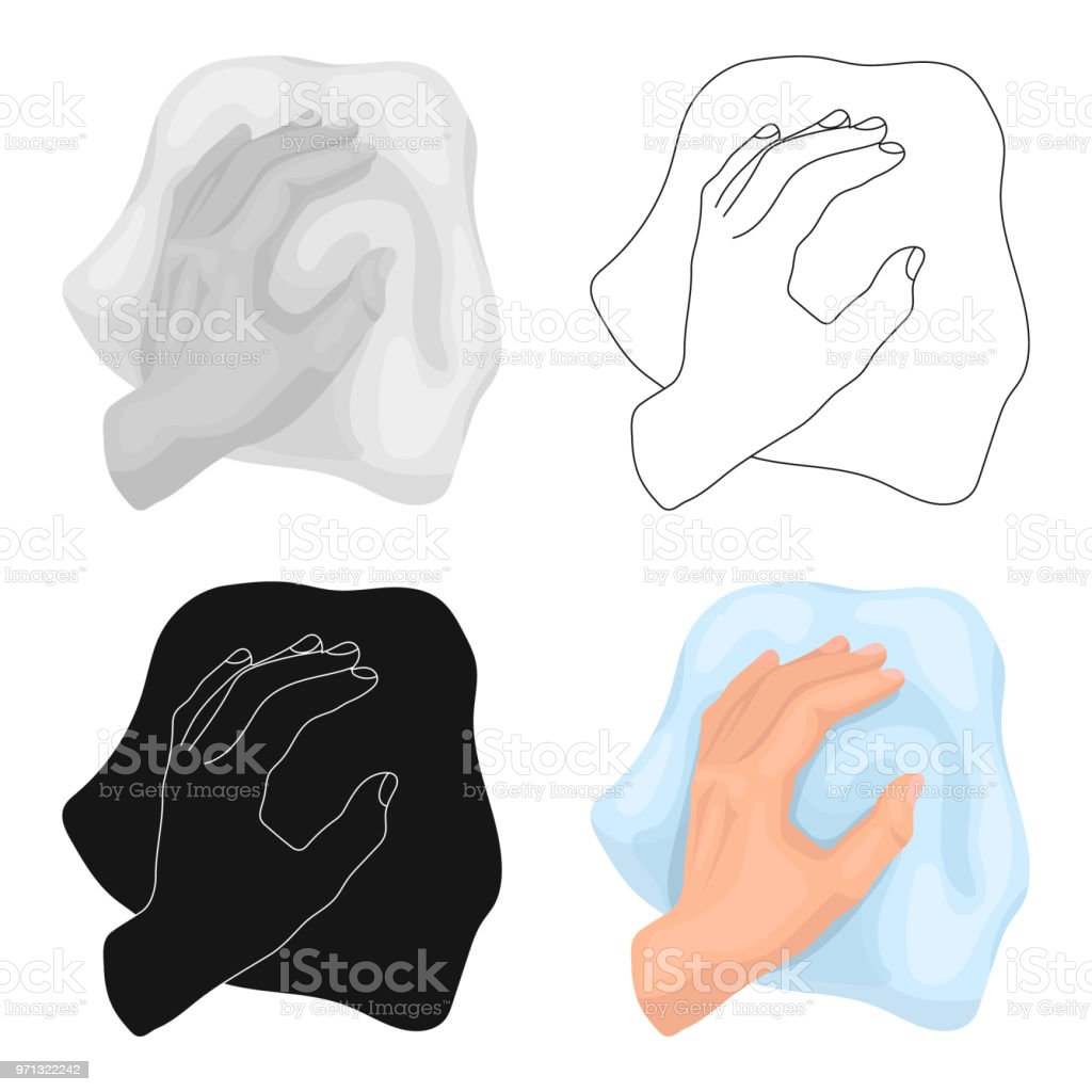 Cleaning by rag icon in cartoon style isolated on white background. Cleaning symbol stock vector web illustration. vector art illustration