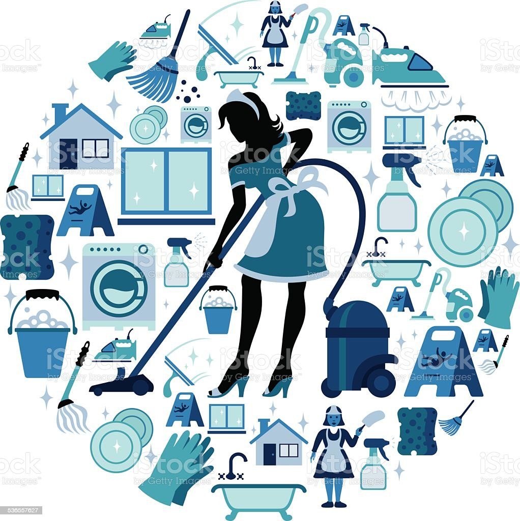 Cleaning Collage vector art illustration