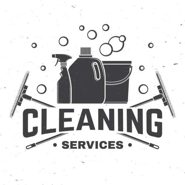 cleaning company badge, emblem. vector illustration. concept for shirt, stamp or tee. vintage typography design with cleaning equipments. cleaning service sign for company related business - disinfectant stock illustrations