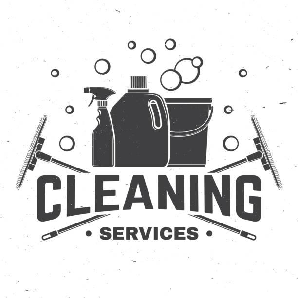temizlik şirket rozet, amblem. vektör çizim. gömlek, damga veya tee için kavram. temizleme aletleri vintage tipografi tasarımı. temizlik hizmeti işareti şirket için iş ilgili - cleaning stock illustrations