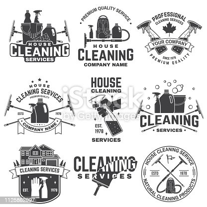 Cleaning company badge, emblem. Vector illustration. Concept for shirt, print, stamp or tee. Vintage typography design with cleaning equipments. Cleaning service sign for company related business