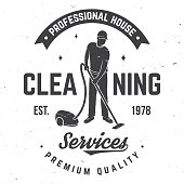 istock Cleaning company badge, emblem. Vector illustration. Concept for shirt, stamp or tee. Vintage typography design with cleaning equipments. Cleaning service sign for company related business 1125863060