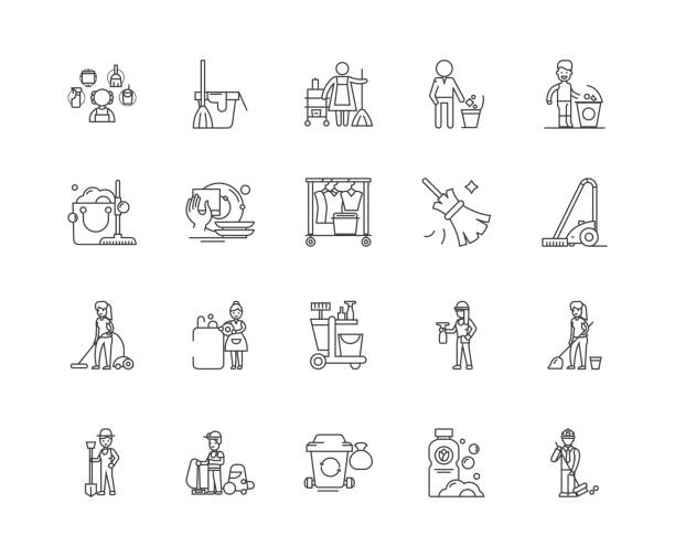 illustrazioni stock, clip art, cartoni animati e icone di tendenza di cleaning company line icons, signs, vector set, outline illustration concept - addetto alle pulizie