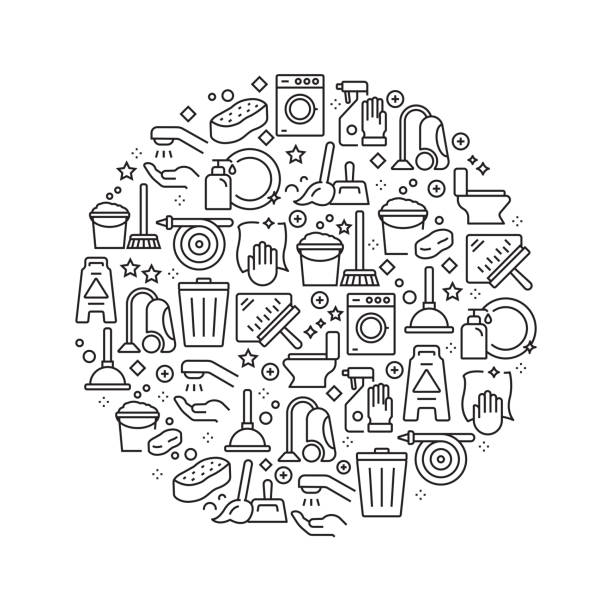 Cleaning Concept - Black and White Line Icons, Arranged in Circle Cleaning Concept - Black and White Line Icons, Arranged in Circle bathroom patterns stock illustrations