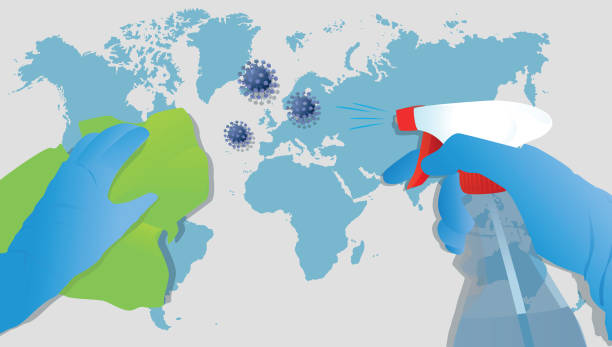 Cleaning coronavirus, COVID-19 disinfection, protective gloves and hygiene products against the virus on the world map, vector illustration vector art illustration