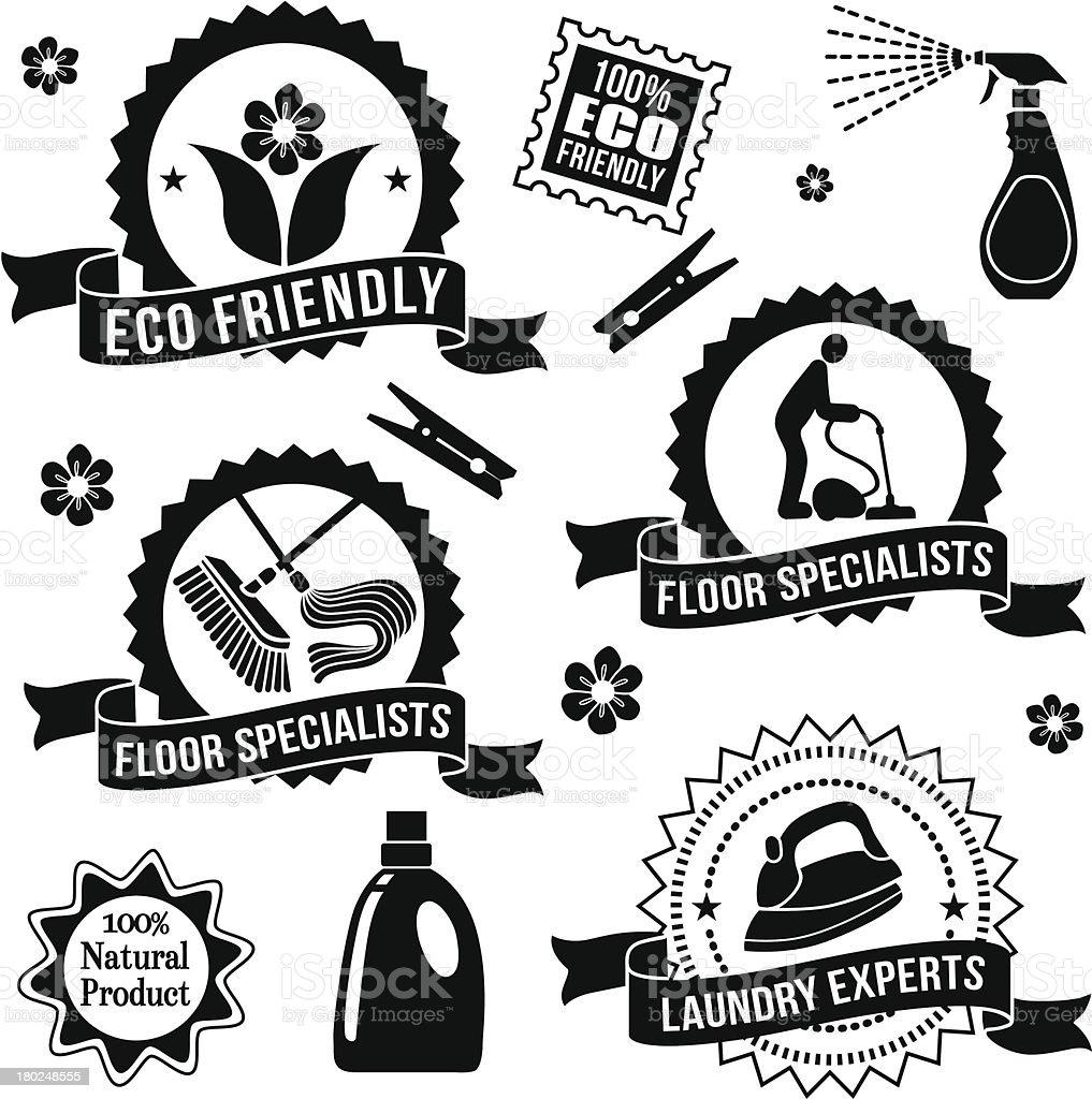 cleaning design elements vector art illustration