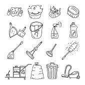 Vector Illustration. Cleaning tools Doodles Set.