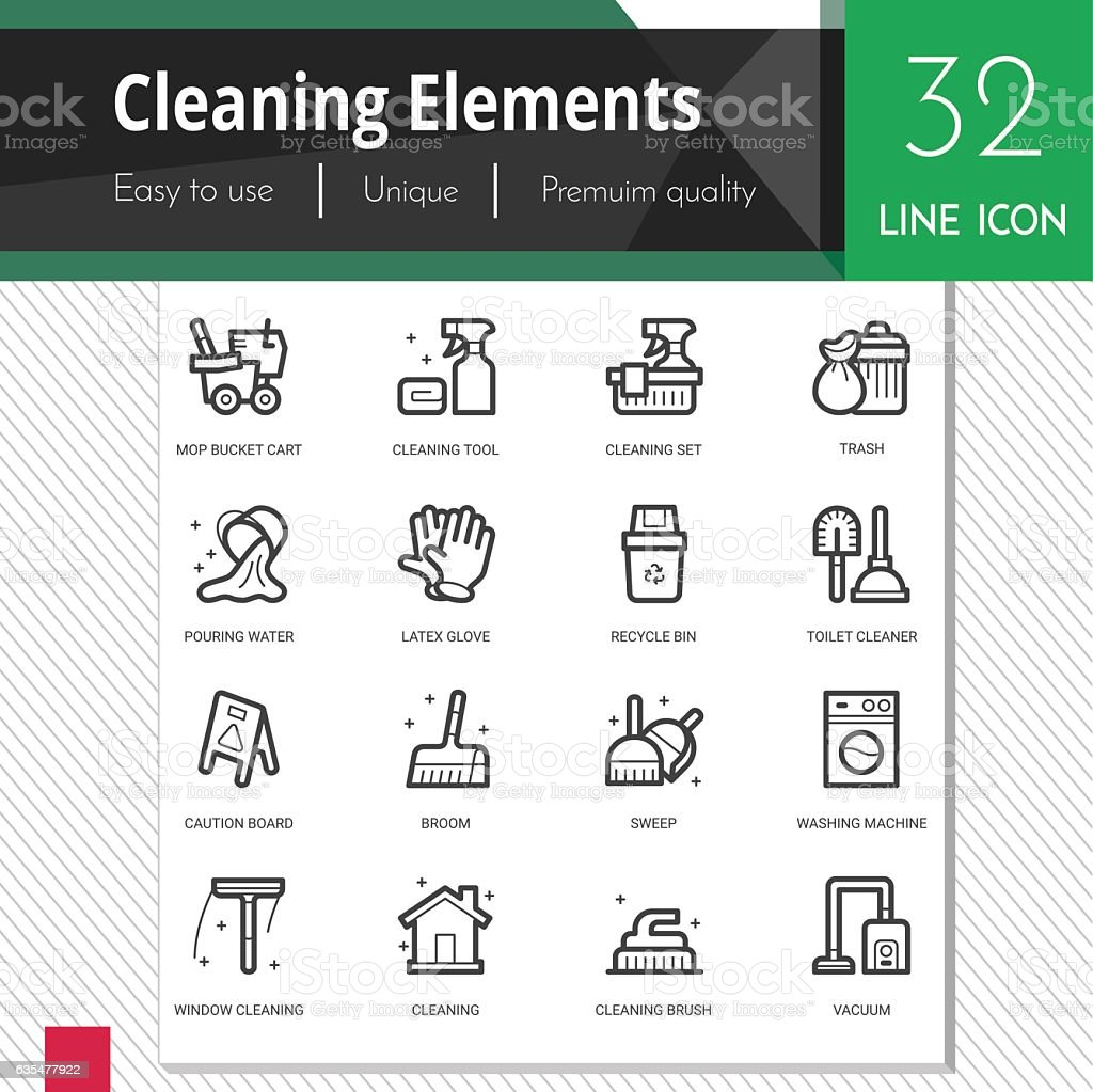 Cleaning elements vector icons set on white background. vector art illustration