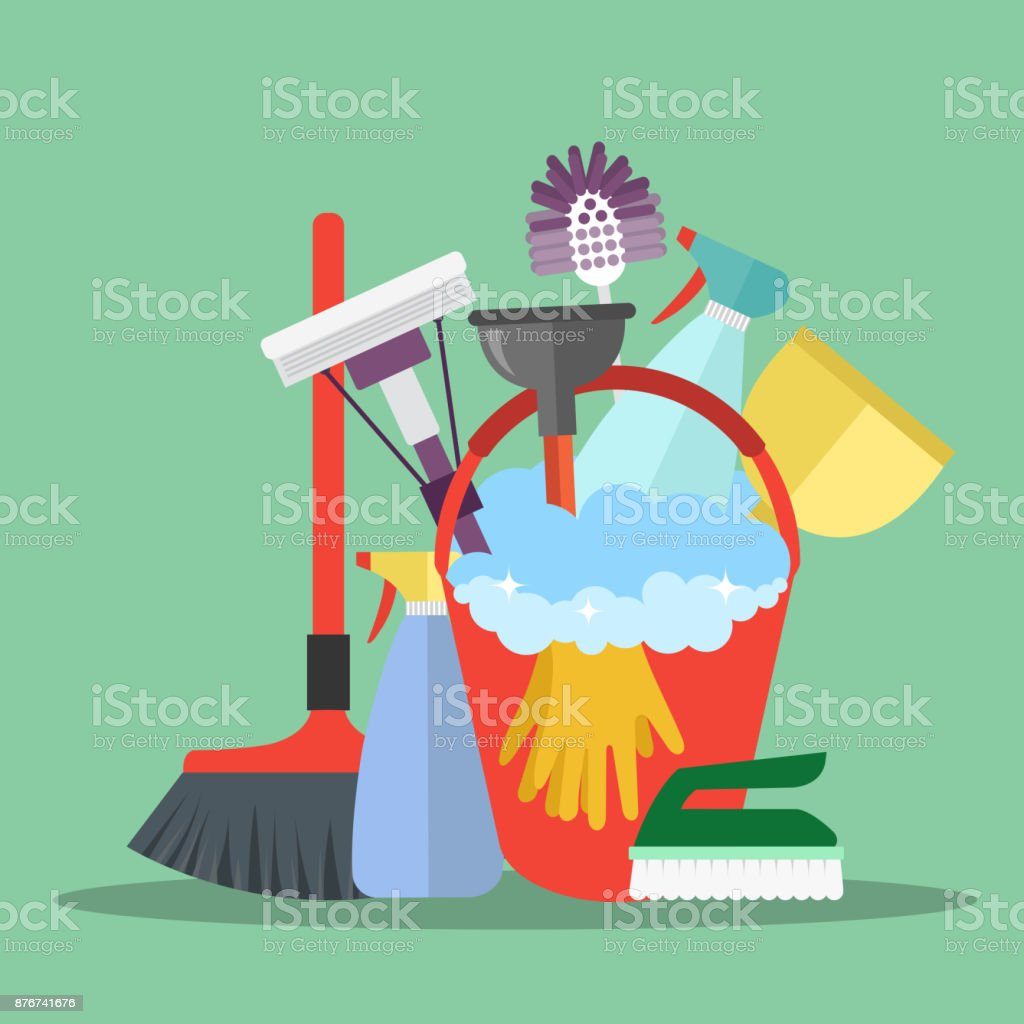 Reinigingsapparatuur. Schoonmaak dienstverleningsconcept. Poster sjabloon voor huis schoonmaak diensten met verschillende schoonmaak gereedschappen. Platte vectorillustratie - Royalty-free Abstract vectorkunst