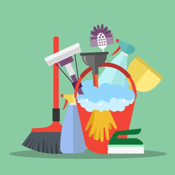 Cleaning equipment. Cleaning service concept. Poster template for house cleaning services with various cleaning tools. Flat vector illustration Cleaning equipment. Cleaning service concept. Poster template for house cleaning services with various cleaning tools. Flat vector illustration chores stock illustrations