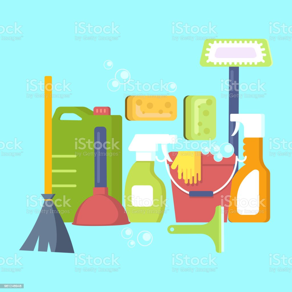 Cleaning equipment in flat design vector art illustration