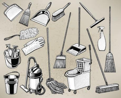 Cleaning Equipment - Mop, Broom, Bucket, Spray Bottle