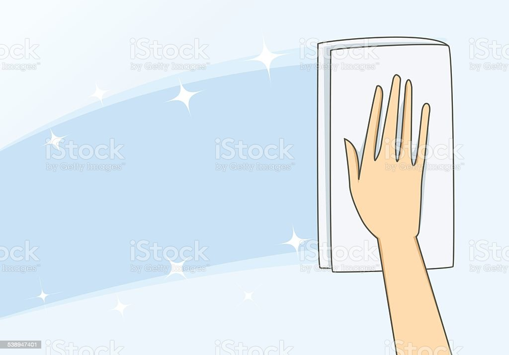Cleaning Glass with towel vector art illustration