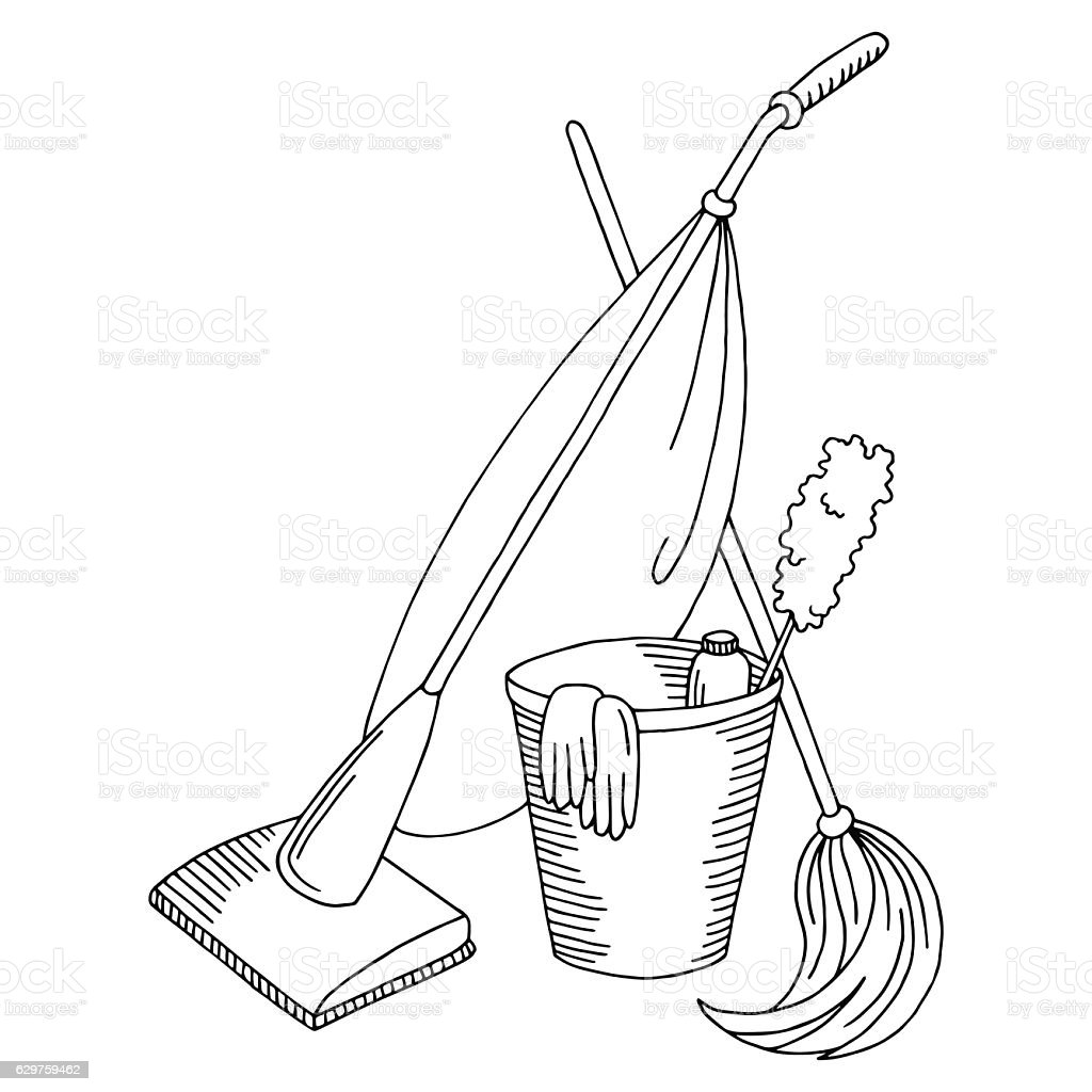 royalty free cleaning mop drawing art product duster clip art Duster Demon cleaning graphic set black white isolated sketch illustration vector vector art illustration
