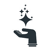 cleaning hand black silhouette icon