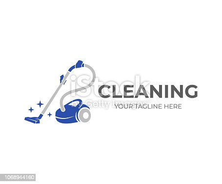 istock Cleaning, hands holding a vacuum cleaner with brilliance of purity, logo design. Steam mop and cleaning service, vector design and illustration 1068944160