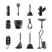 Cleaning, Home Appliances Icons Set, Monochrome
